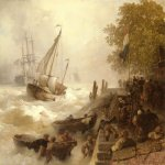Andreas Achenbach (1815-1910)  Hafeneinfahrt Bei Rauher See [Return To Harbour In Rough Seas]  Oil on panel, 1893  19 1/4 x 24 1/8 inches (49.2 x 61.5 cm)  Private collection